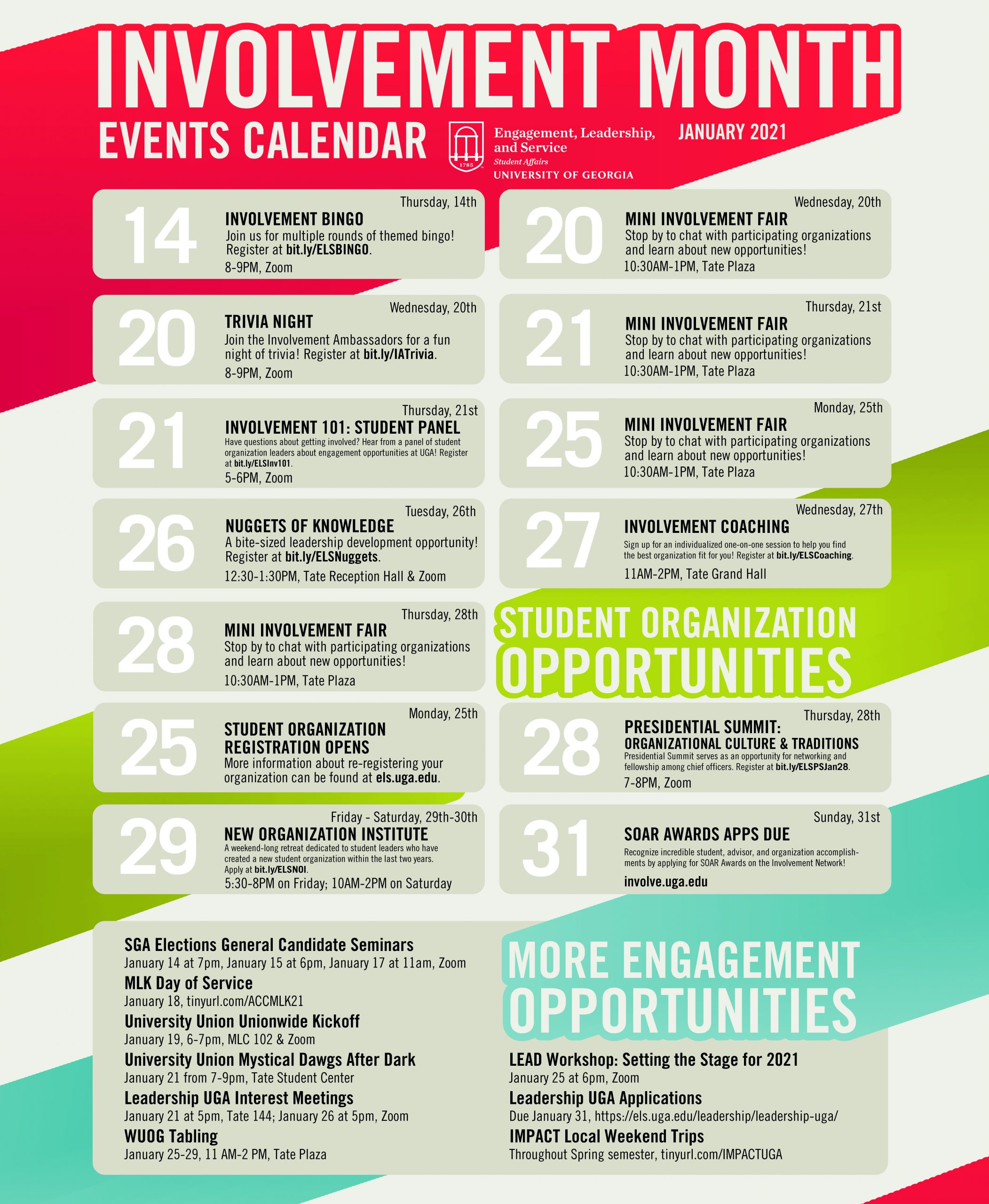 Flyer with the event details for Involvement Month