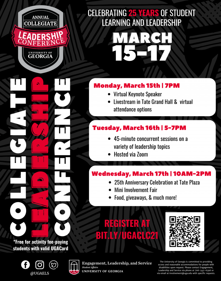 Collegiate Leadership Conference Calendar of events for March 15 - 17.